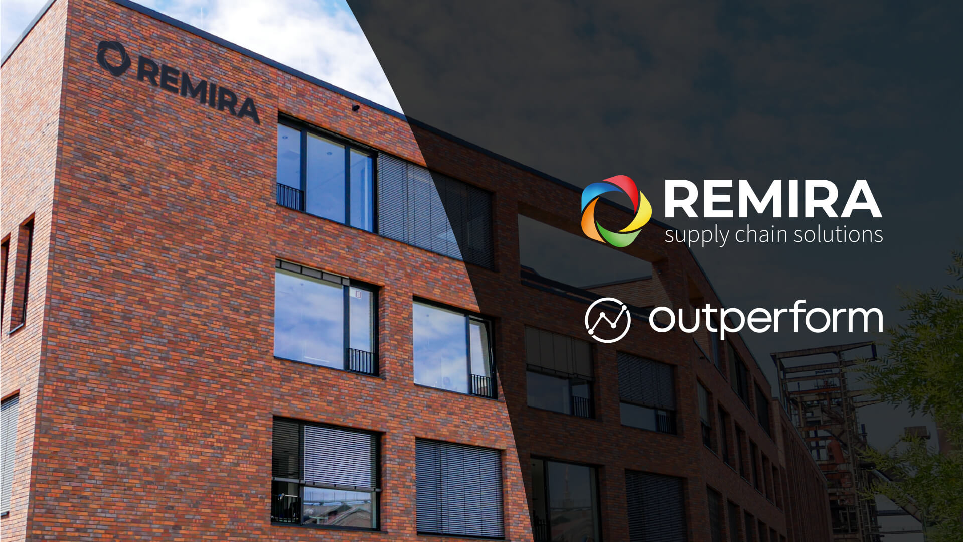 REMIRA building with mock up of REMIRA and outperform logo