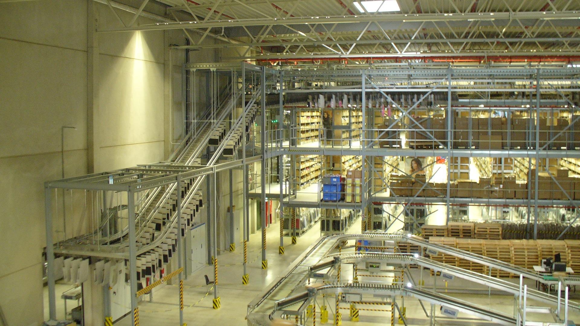 Inside of the warehouse of arvato in Langenhagen