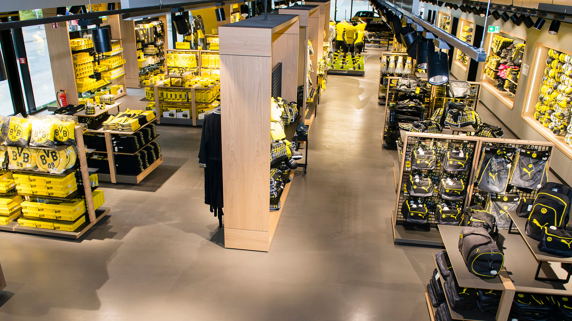 BVB shop inside with shelves and articles