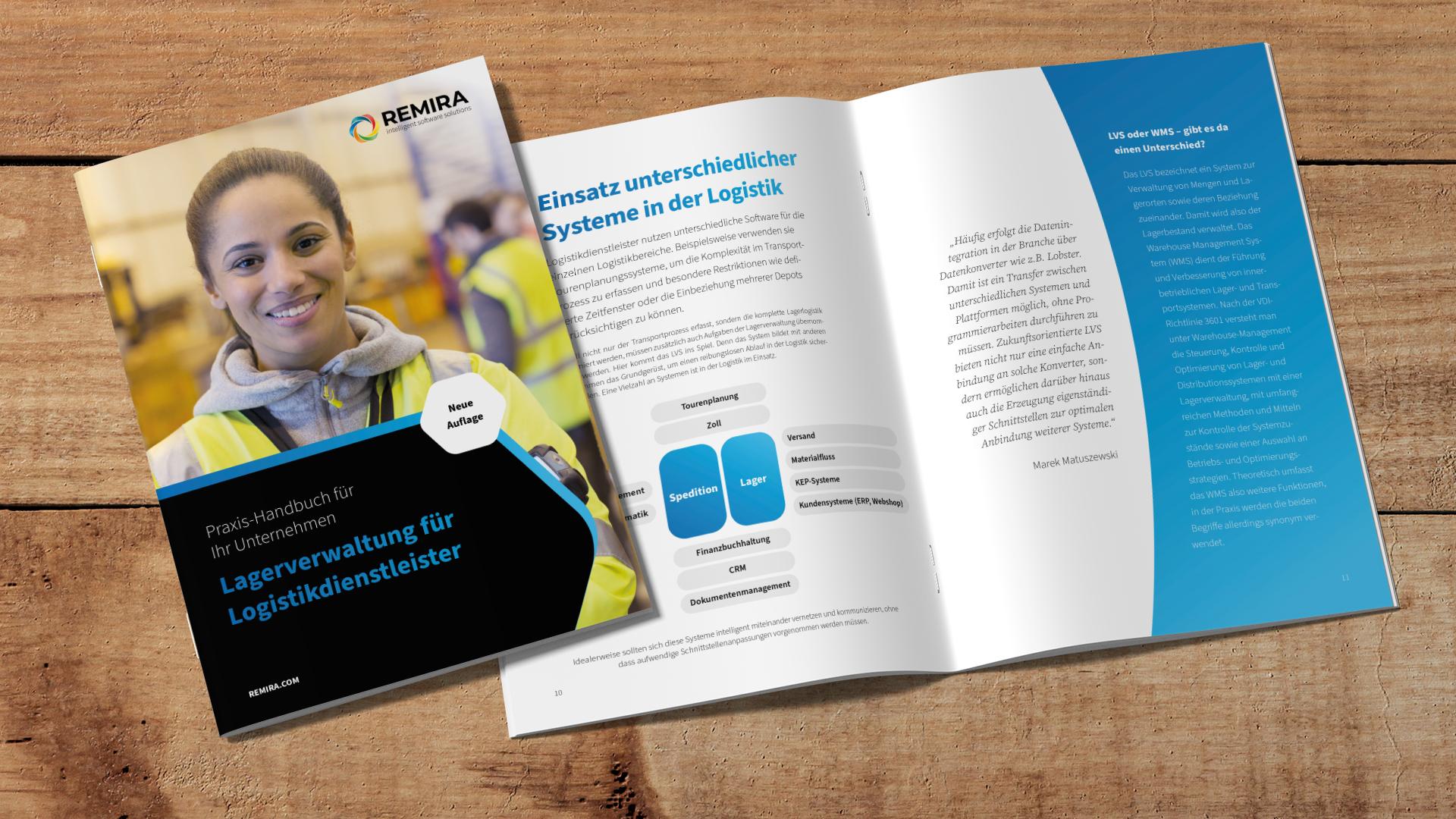 Mock-Up REMIRA Whitepaper Lagerverwaltung für Logistikdienstleister